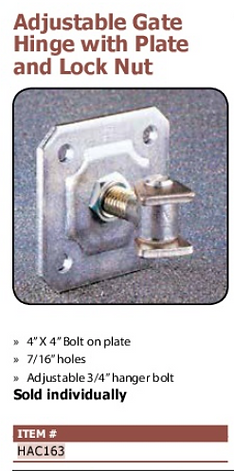adjustable gate hinge with plate and lock nut