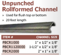 unpunched rollformed channel