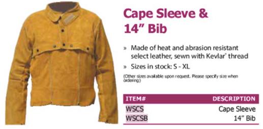 "cape sleeve & 14"" bib"