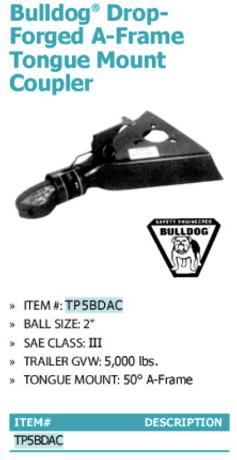 bulldog drop forged A-frame tongue mount coupler