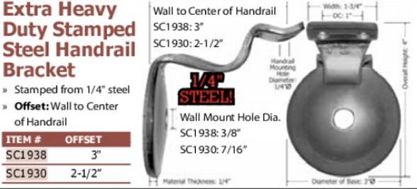 extra heavy duty stamped steel handrail bracket