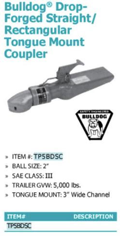 bulldog drop-forged straight/rectangular tongue mount coupler