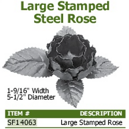 large stamped steel rose
