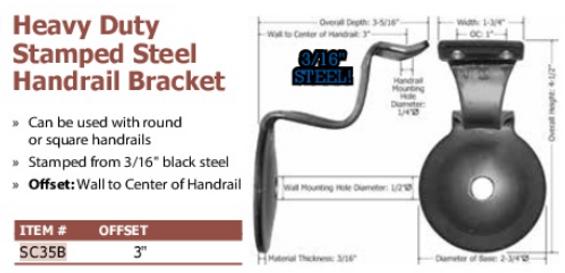 heavy duty stamped steel handrail bracket