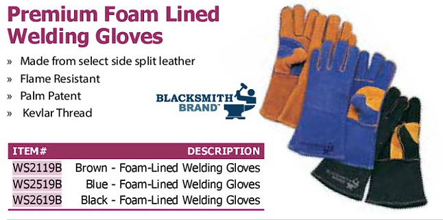 premium foam lined welding gloves