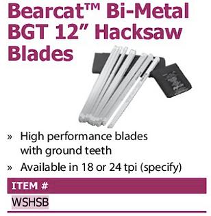 """bearcat bi-metal bgt 12"""" hacksaw blades"""