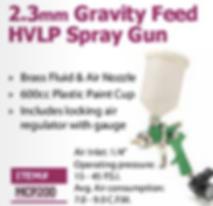 2.3mm gravity feed HVLP spray gun