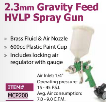 2.3mm gravity feed HVLP spray gun