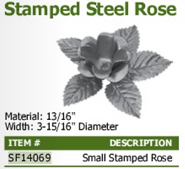 stamped steel rose