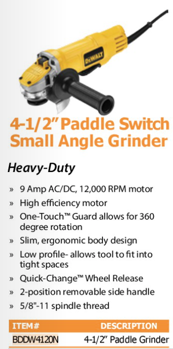 "4 1/2""paddle switch small angle grinder"