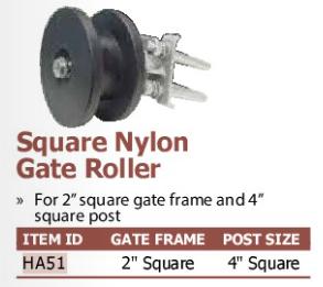 square nylon gate roller