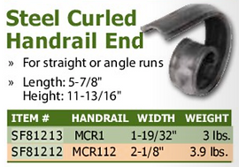 steel curled handrail end