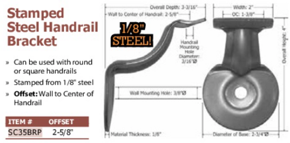stamped steel handrail bracket