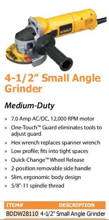 "4n1/2"" small angle grinder"