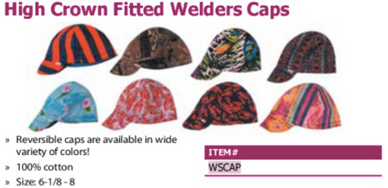 high crown fitted welders caps