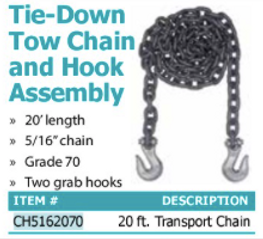 tie-down tow chain and hook assembly
