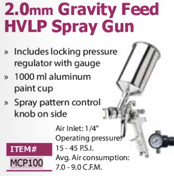 2.0mmgravity feed HVLP spray gun