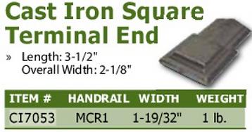 cast iron square terminal end