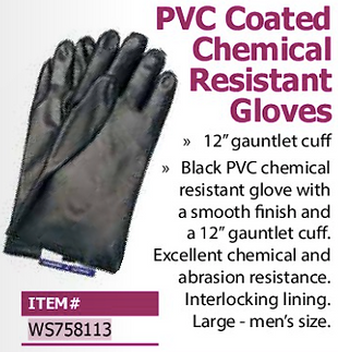 pvc coated chemical resistant gloves