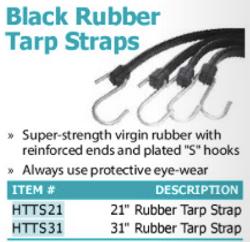 black rubber tarp straps