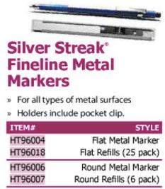 silver streak fineline metal markers