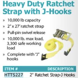 heav duty ratche strap with j-hooks