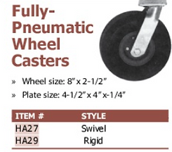 fully-pneumatic wheel casters
