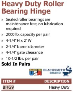 heavy duty roller bearing hinge