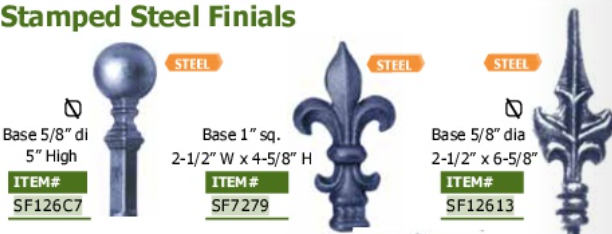 Stamped Steel Finials