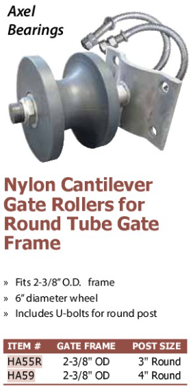 nylon cantilever gate rollers for round tube gate frame