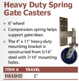 heavy duty spring gate casters