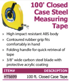 100' cloed case steel measuring tape