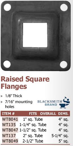 raised square flanges