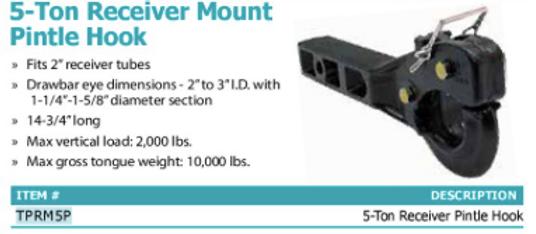 5-Ton receiver mount pintle hook