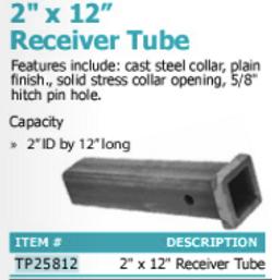 """2"""" x 12"""" receiver tube"""