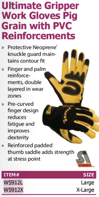 ultimate gripper work gloves pig grain with pvc reinforcements