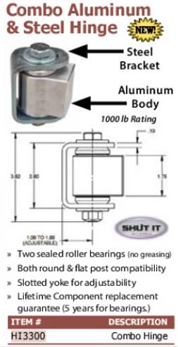 combo aluminum and stee hinge