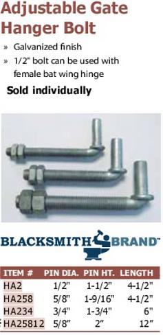 adjustable gate hange bolt