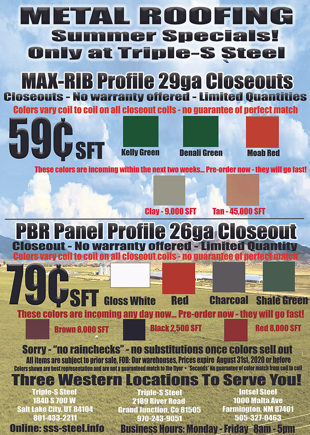 Metal Roofing non warranty July Aug 2020