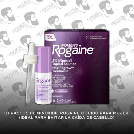 3 Frascos Minoxidil Rogaine Tópico 2% [Dama]