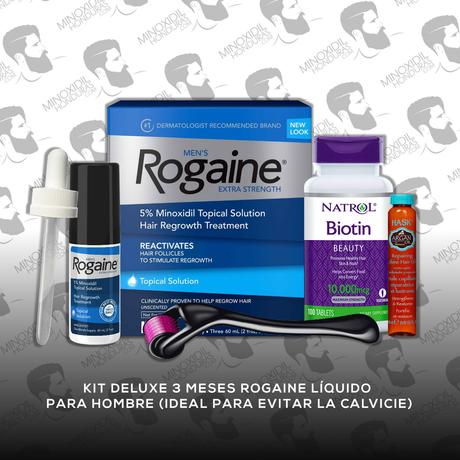 Kit Deluxe 3 Meses Minoxidil Rogaine Tópico [Hombre]