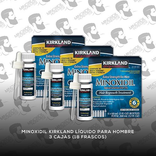 18 Frascos de Minoxidil Kirkland para Hombre en Tópico 5%