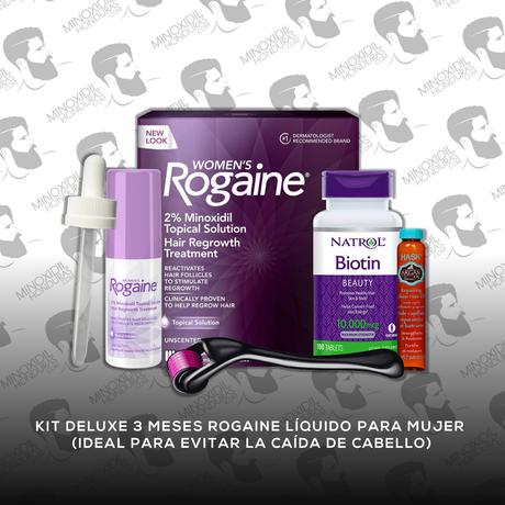Kit Deluxe 3 meses Minoxidil Rogaine Tópico 2% [Dama]