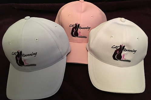 CAT Running Embroidery Logo Running Cap WHITE