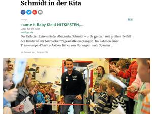 """Vortrag über Transeuropa-Charityrun im Kindergarten """"Zeitungsartikel"""""""