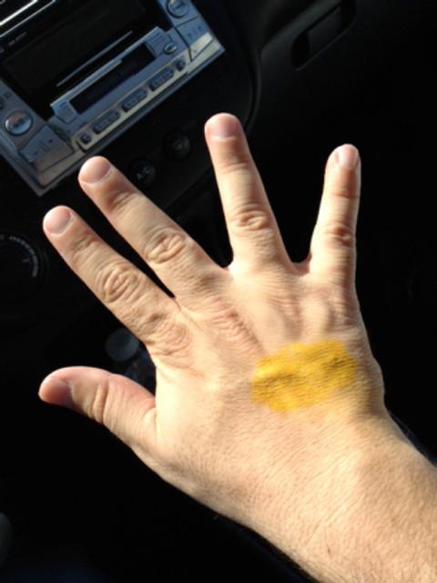 Yellow Make-Up on Hand