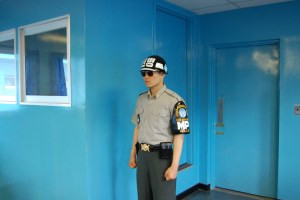 South Korean Soldier Standing in North Korea