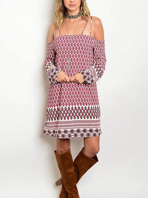 Burgundy & Ivory Tunic Dress