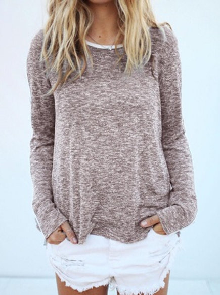 Khaki Long Sleeve Comfy Tee