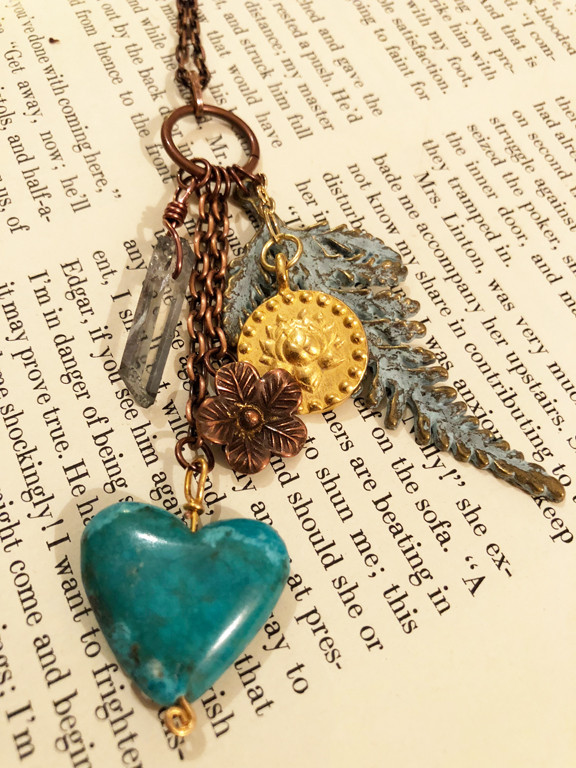 Trinket Necklace with Turquoise Heart